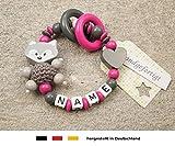 Baby Greifling Beißring geschlossen mit Namen - individuelles Holz Lernspielzeug als Geschenk zur Geburt Taufe - Mädchen Motiv Fuchs und Herz in grau pink