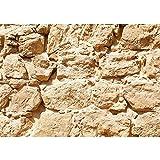 Vlies Fototapete PREMIUM PLUS Wand Foto Tapete Wand Bild Vliestapete - ROCK STONE WALL - Steinwand Steintapete Wand Wall Beige Felsen Große Steine - no. 025, Größe:400x280cm Vlies