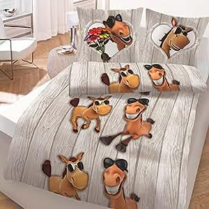 bettwaren shop biber bettw sche coole pferde 135x200 cm 80x80 cm k che haushalt. Black Bedroom Furniture Sets. Home Design Ideas