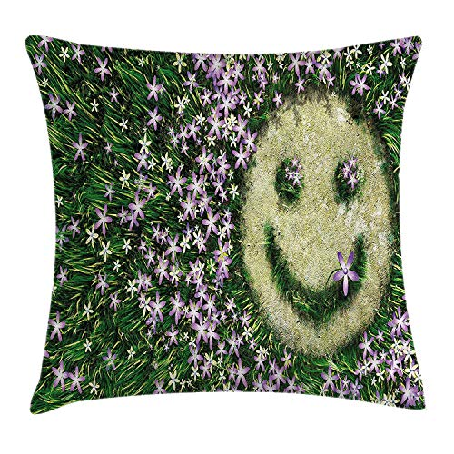 Trsdshorts Garden Decor Throw Pillow Cushion Cover, Smiley Emoticon on The Grass with Spring Flowers Happy Humorous Meadow, Decorative Square Accent Pillow Case, 18 X 18 Inches, Lavander Green Butterfly Meadow Bunny