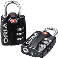 Oria TSA Zugelassene Zahlenschloss, 3-Stellige TSA Approved Reiseschlösser Gepäckschlösser mit öffnen Alert Anzeige…