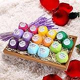 LESHP Bombas de Baño con Aceites Esenciales,16*60g Efervescentes Naturales Sal de Baño Relajante de Cuerpo Cuidado de la Piel Regalo para Niños/ Muejer/ Novia/ Amante con 8 Colores