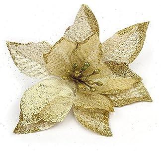 lumanuby 1pieza Artificial Flowers franela Árbol de Navidad Flores Brillante Weihnachtsbaum Deko Diámetro: 13,0cm, Golden Color