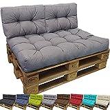 proheim Outdoor Palettenkissen Tino Lounge Set - Sitzkissen 120 x 80 x 18 cm + 2 Rückenkissen 60 x 40 x 10-20 cm - Lounge Palettensofa Indoor / Outdoor schmutz- und wasserabweisende Palettenauflage, Farbe:Grau