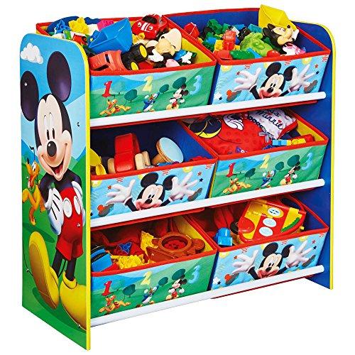 Aufbewahrungsregal - Spielzeugkiste - Spielzeugtruhe - Disney Regal 6 Boxen mit Motivauswahl (Mickey Mouse)