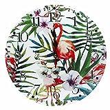 LOHAS Home 12 Zoll/30CM Holz Wanduhr/Küchenuhr im Landhausstil Stille Nicht-tickende für die Küche,Home Office, Wohnzimmer und Schlafzimmer (Flamingos und Palmblätter)