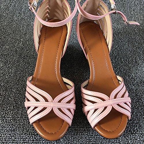 Lgk & Fa Sandales Summer Sandales De Nouveau Style Avec Des Sandales D'été En Cuir Simples Chaussures De Bouche De Poisson Doux Rose (6,5 Cm De Haut)