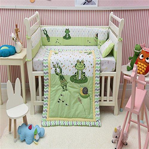 Baumwolle Baby Bettwäsche Set für Wiege Frosch Schnecke Muster Bestickt Quilt Set von 4 - Frösche Baby-bettwäsche-sets
