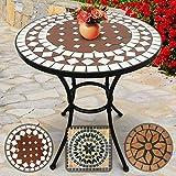 Nova Tavolo Mosaico Rotondo - Ø/A: 60x70 cm, Robusto e Stabile, Rosso Bianco - Disegno a Scelta - Tavolino da Esterno, da Giardino, da Balcone