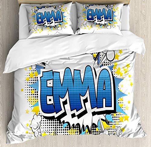HENUK Emma Bettwäsche-Set, für Jugendliche, Mädchen, Cartoon-Sterne und Burst, 3-teiliges Bettwäsche-Set mit 2 Kissenbezügen, Blau/Gelb und Schwarz, Polyester-Mischgewebe, Multi, Doppelbett (Vollständige Bettwäsche Mädchen)