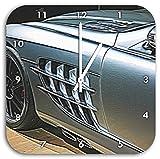 Mercedes SLR, Wanduhr Quadratisch Durchmesser 28cm mit weißen spitzen Zeigern und Ziffernblatt, Dekoartikel, Designuhr, Aluverbund sehr schön für Wohnzimmer, Kinderzimmer, Arbeitszimmer