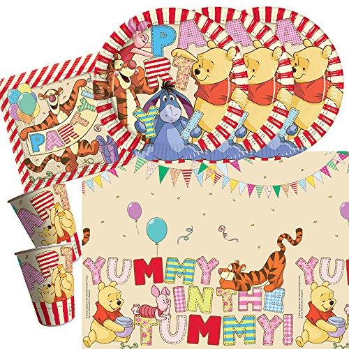 Unbekannt 37-teiliges Party-Set Winnie Pooh Alphabet - Teller Becher Servietten Tischdecke für 8 Kinder