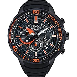 Pulsar Men's 47mm Black Rubber Band Steel Case Sapphire Crystal Quartz Analog Watch PT3555