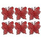 Mitlfuny 6pcs Glitzer KüNstliche Blumen Weihnachten Weihnachtsbaum KräNzen Hochzeit Ornaments Weihnachten Baum Ornamente Simulation Schmetterling