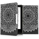 kwmobile Hülle für Tolino Vision 1 / 2 / 3 / 4 HD - Flipcover Case eReader Schutzhülle - Bookstyle Klapphülle Sonne Aztec Design Weiß Schwarz