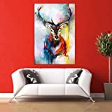 Inephos Cotton and Wood Swamp Deer Framed Painting, Multicolour, Abstract, 85 x 55 cm