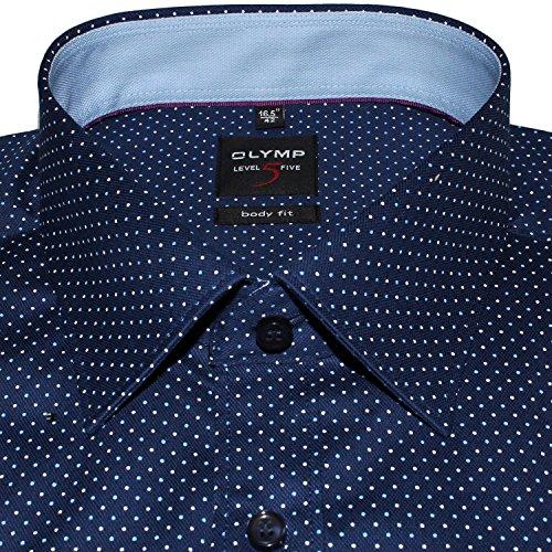 OLYMP Luxor Comfort Fit Hemd Langarm Muster Dunkelblau Blau -berger ...
