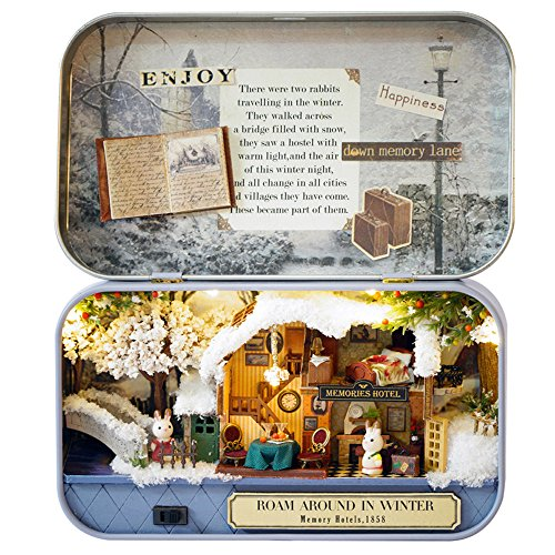 Miniatur Puzzle Box mit Möbeln DIY Holzhaus Kunsthandwerk Romantische Geschenk Spielzeug mit LED Licht Dollhouse Kit (A Hotel im Winter) ()