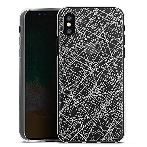 Apple iPhone X Silikon Hülle Case Schutzhülle Transparent mit Muster Scratches Kratzer Silikon Case transparent