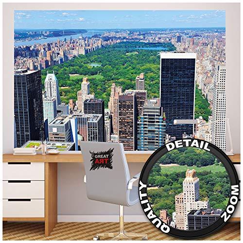 GREAT ART Fototapete - New York Skyline Central Park - Wandbild Dekoration Amerika Manhattan Panorama Landschaft USA Großstadt Bild Wallpaper Foto-Tapete Wandtapete Poster (210 x 140 cm)