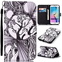 Galaxy S6 Edge Leather Wallet Case [with Free Tempered Glass Screen Protector], KKEIKO® Elegant Flip Case with Protect Cover, Premium Magnetic PU Leather Wallet with Card-Slots Cash Holder Wrist Strap and Kickstand, Slim Fit Book Style Folio Case Cover f