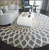 Schwarz-Weiß-Runde Wohnzimmer Couchtisch Große Teppich Schlafzimmer Studie Bodenmatten ( Farbe : Gray+White , größe : 120cm )