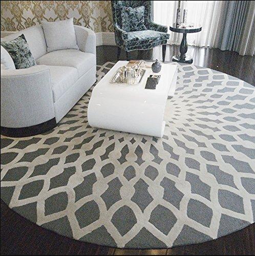 Schwarz-Weiß-Runde Wohnzimmer Couchtisch Große Teppich Schlafzimmer Studie Bodenmatten ( Farbe : Gray+White , größe : 100cm )