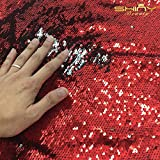 Shinybeauty 1 Yard 5mm Spandex Fabric Red & Silver Luxury Two Way Stretch Reversible Sequin Fabric for DIY Bridal Gown Prom Evening Dress Custume, Magic Sequin Pillow Case, Cushion Cover