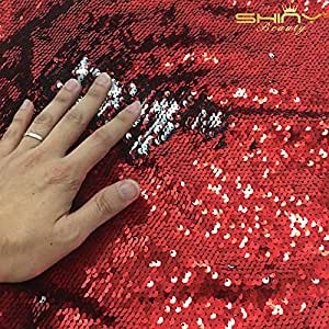Shinybeauty 0,9m 5mm spandex tessuto rosso e argento lusso paillettes reversibile tessuto stretch bidirezionale per fai da te sposa abito da sera Abito Custume Magic, paillettes federa, cuscino