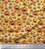 Soimoi Beige Kunstseide Stoff Hexengesicht Halloween Stoff