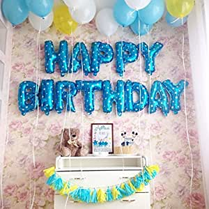 Rozi Decoration Happy Birthday Foil Balloon, Blue (BB-003, Pack of 13 Letters)