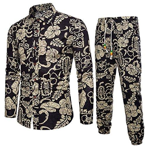 CICIYONER Herren Beiläufig Lange Ärmel Hemd Geschäft Schlank Passen Hemd Drucken Bluse Oben + Hose (XL, Schwarz) -