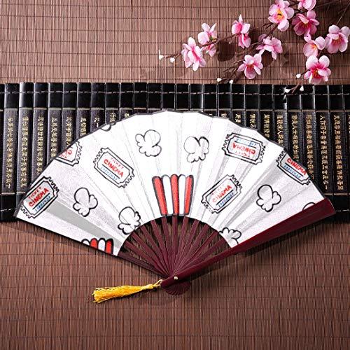 AGIRL Faltfächer Große Sammlung von Popcorn Mit Bambusrahmen Quaste Anhänger Und Stofftasche Hand Fan Halter Chinesischen Fan Für Männer Traditionellen Japanischen Fan