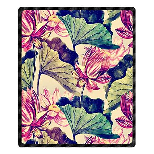 Qihua Vintage Style Custom Printing 3d Lotus flower Blanket Travel Velvet  Plush Throw Blanket Bed Blankets 4fe52e44b0741