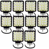 Tempo di Saldi® - Faros cuadrados de trabajo, 16 LED, faros de profundidad