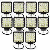 Tempo di Saldi® - Faros cuadrados de trabajo, 16 LED, faros de profundidad, 48W, para vehículos y barcos, 10 unidades