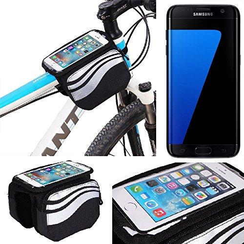 K-S-Trade Rahmentasche für Samsung Galaxy S7 Edge Rahmenhalterung Fahrradhalterung Fahrrad Handyhalterung Fahrradtasche Handy Smartphone Halterung Bike Mount Wasserabweisend, Silber-schwarz