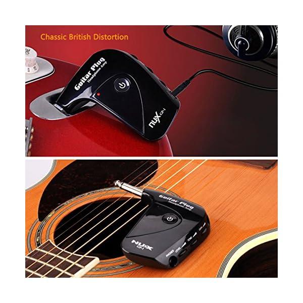 Guitar Plug Headphone Amp, Classic British Distortion Portable, Plastic Black Plastic Black, by LC Prime