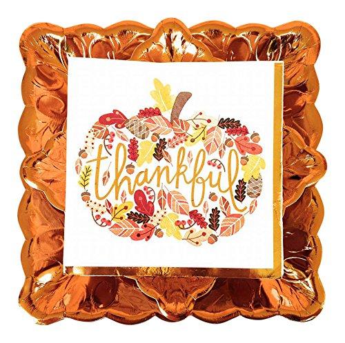 Brother Thankful Deluxe Fall Party Geschirr-Set - 3 Teile: Essteller, Dessertteller, große Servietten - Servietten Fall