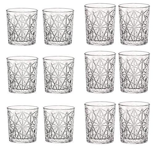 Bormioli Rocco Lounge Vintage-Klarglas Whiskey Tumblers & Double Old Fashioned Tumblers - Satz von 12 12 Double Old Fashioned Gläser