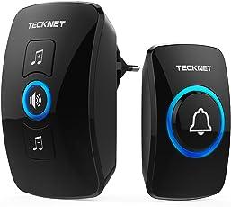 Campanelli Wireless Impermeabile, TeckNet Campanello Senza Fili Portatile Wireless Doorbell, Indicatori LED, 250M Operativo a grande Distanza, 4 Volumi Selezionabili, Italia Spina (1xTrasmettitore e 1x Ricevitore)