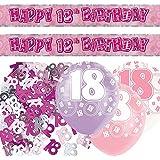 Unique Ensemble de décorations d'anniversaire de 18 ans pour fille avec inscription en anglais 18th Birthday Rose/argenté