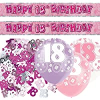 Pink Silver Girl Glitz 18th Birthday Banner Party Decoration Pack Kit Set