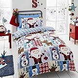 Happy Linen Co Santa Patch Christmas Boys Girls Single Duvet Cover Bedding Set