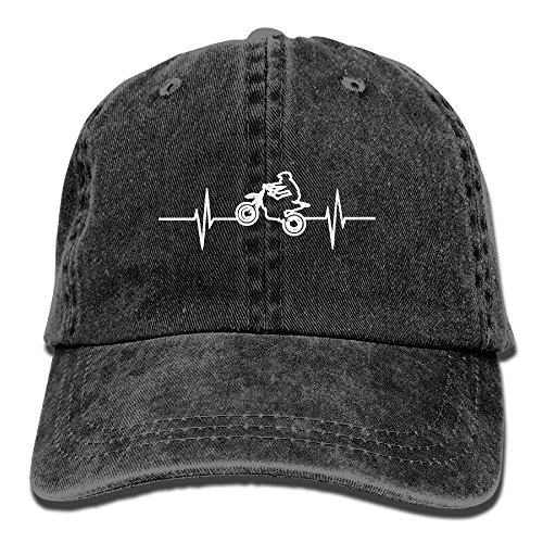 fboylovefor Dirtbike Heartbeat Vintage Jeans Baseball Cap For Men and Women