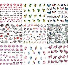 BEETEST 50 Hojas Surtido Pegatina Decoracion para las Uñas Decal DIY uñas herramienta de decoración arte adhesivos uñas