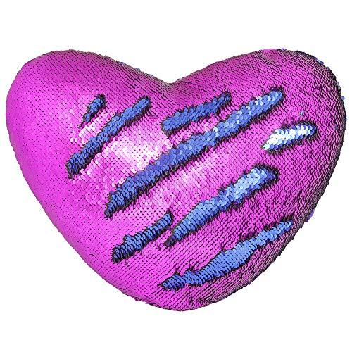 Meerjungfrau Wurf Kissen mit Insert, Play Tailor Reversible Sequins Kissen Herzform Dekorative Kissen (35 x 40cm, blau + lila) (Lila Dekorative Bett Kissen)