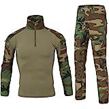 LANBAOSI Chemise de Combat Militaire Homme Uniforme Tactique Séchage Rapide à Manches Longues & Pantalon Costume Tenues de Co