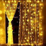 lederTEK Cadena de Luz de Navidad con Diseño de Cortina 3 x 3 m con 306 LED para Adornar Casas, Patio, Bodas, Comuniones, Árboles de Navidad, Halloween