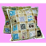 2 White Embroidery Sequin Patchwork Indian Sari Throw Pillow Cushion Covers